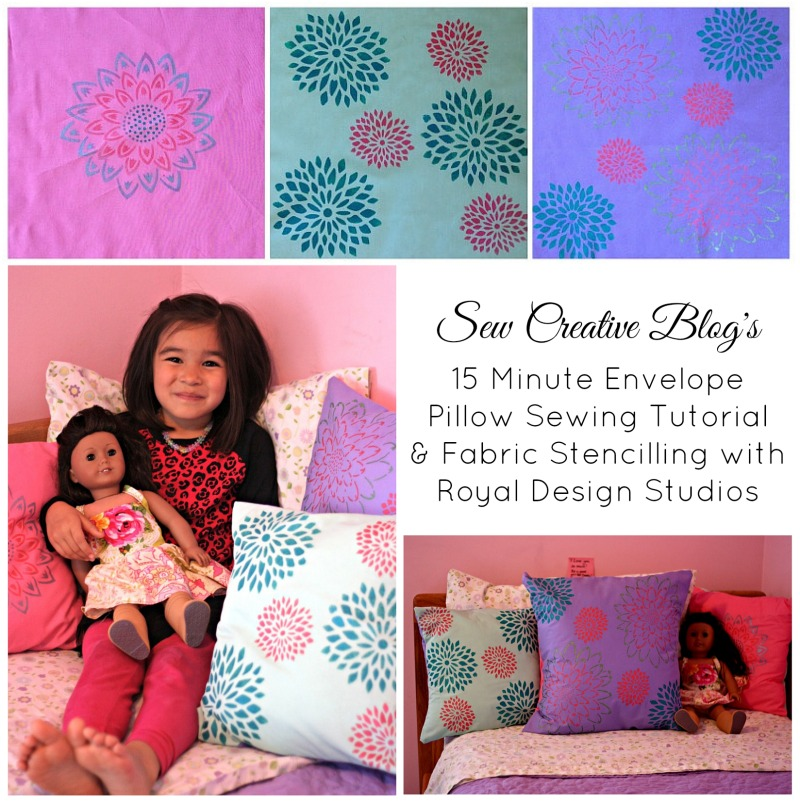 Sew Creative Blog's 15 Minute Envelope Pillow Sewing Tutorial & Fabric Stencilling with Royal Design Studios