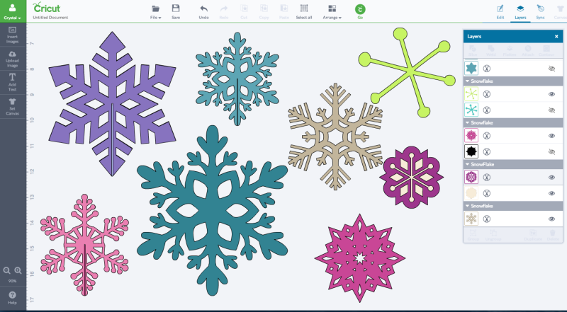 Snowflakes in a variety of sizes