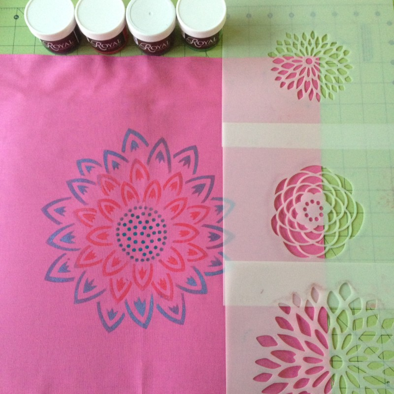 Stencilling supplies for your envelope pillows
