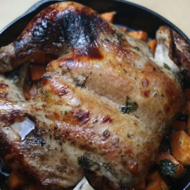 Cast Iron Balsamic Roasted Butterflied Chicken Recipe with Sweet Potatoes- Cooks in 45 Minutes! This is so delicous and would be easy to make as a weeknight meal!