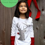 DIY Hipster Rudolph Shirt Made On Cricut Explore From Sew Creative. A quick and easy Christmas Shirt that makes a great Christmas Gift