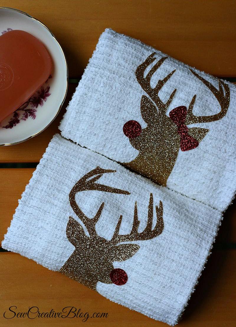 Handmade Hostess Christmas Gift Idea Mr And Mrs Rudolph Towels Hello Creative Family