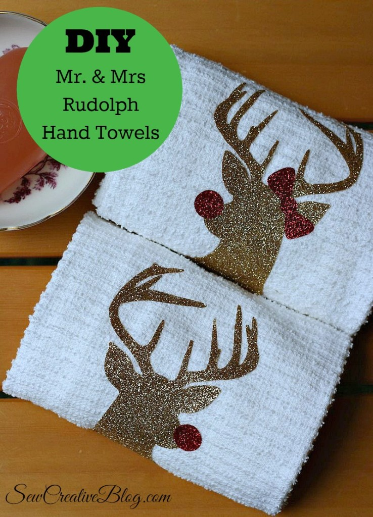 DIY Mr. & Mrs Rudolph Hand Towels from Sew Creative made on the Cricut Explore make the perfect Christmas Hostess Gift. #CDNHandmadeHoliday