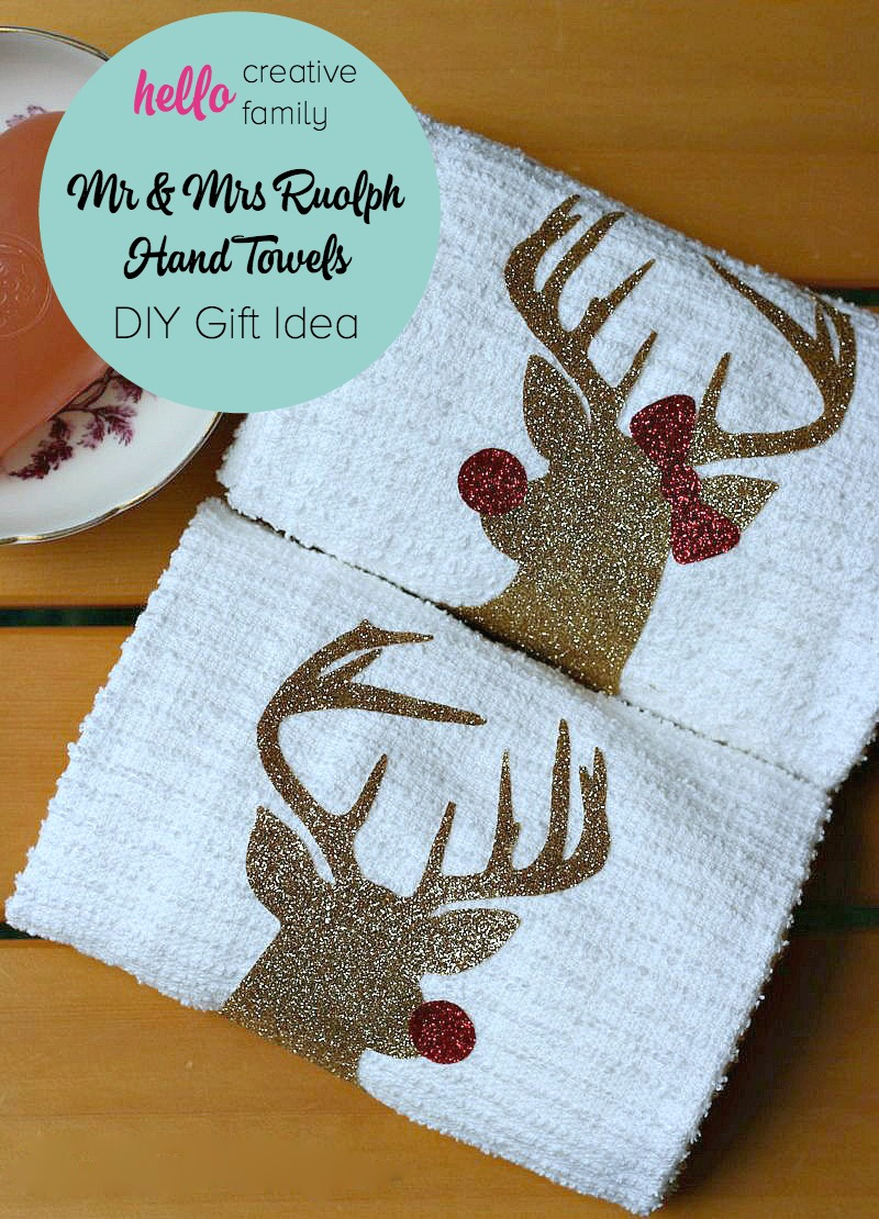 DIY Mr Mrs Rudolph Hand Towels From Sew Creative Made On The Cricut Explore