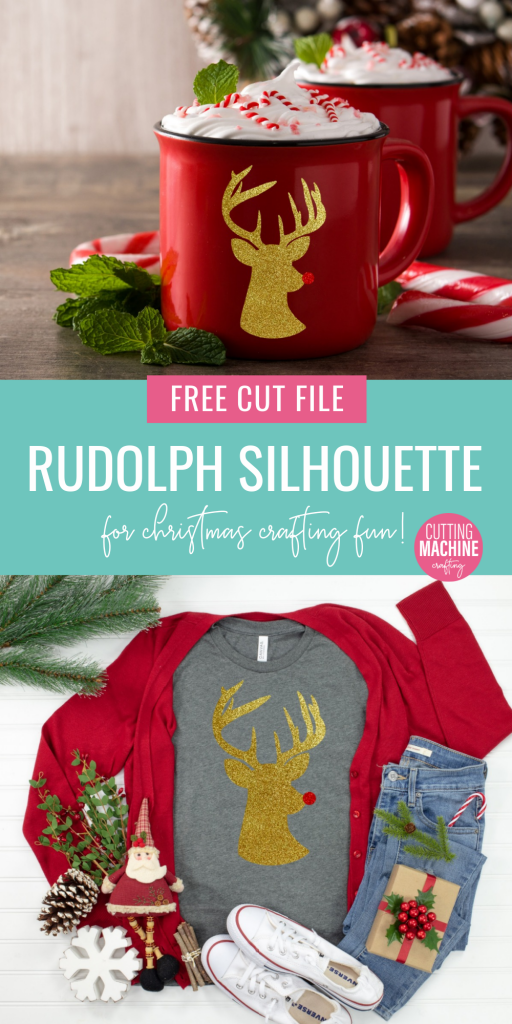 Free SVG Cut File Rudolph Silhouette For Christmas Crafting Fun