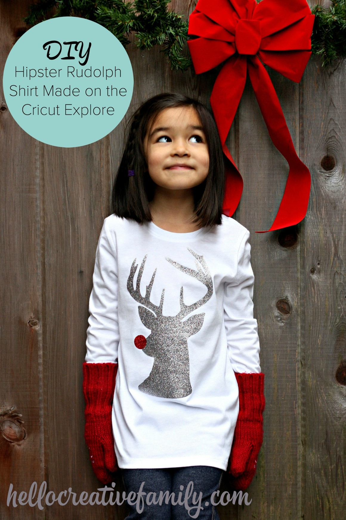Hello Creative Family's Hipster Rudolph The Red Nosed Reindeer Hipster Shirt made on the Cricut Explore with Expressions Vinyl