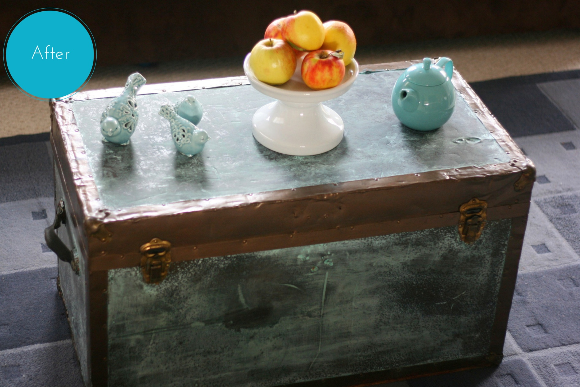 Old Coffee Table Makeovers Old Trunk Makeover Using Modern Masters Metal Effects Blue Patina
