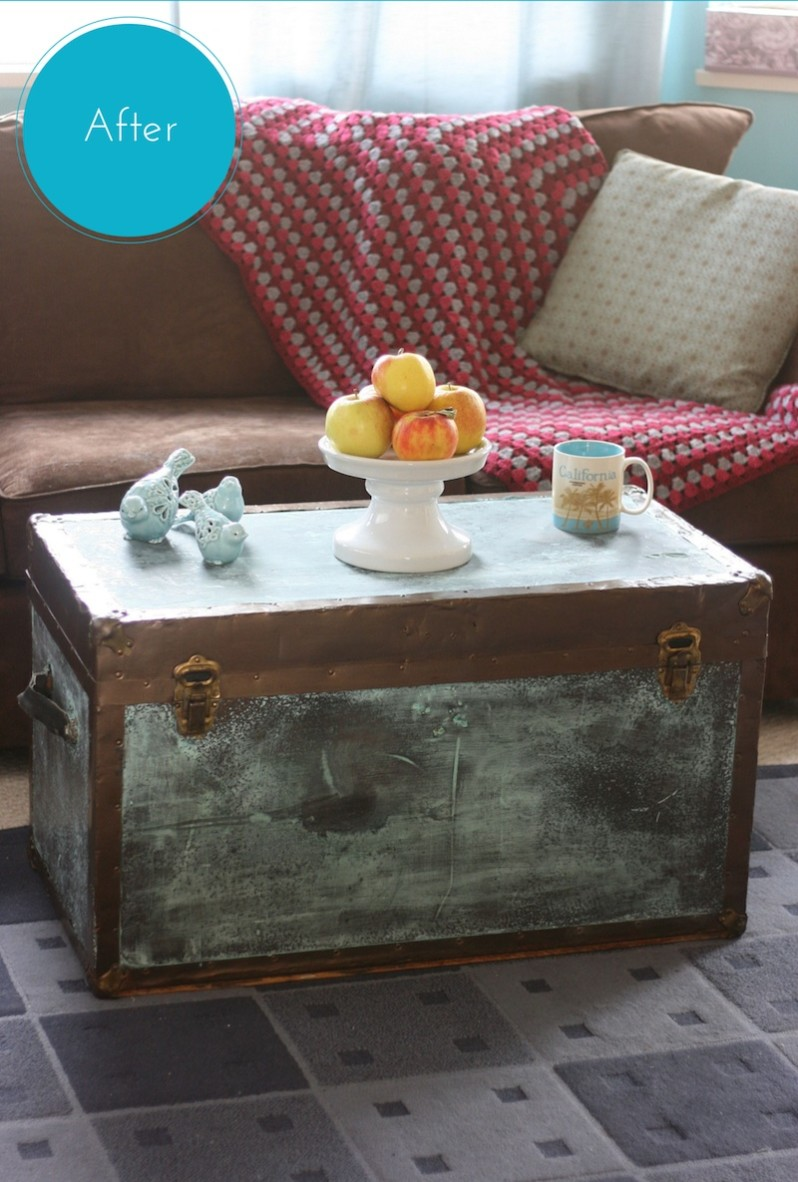 Old Trunk Makeover Using Modern Masters Metal Effects Blue Patina