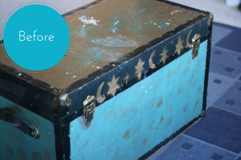 Old Trunk Makeover using Modern Masters Metal Effects Blue Patina Aging Solution- Before