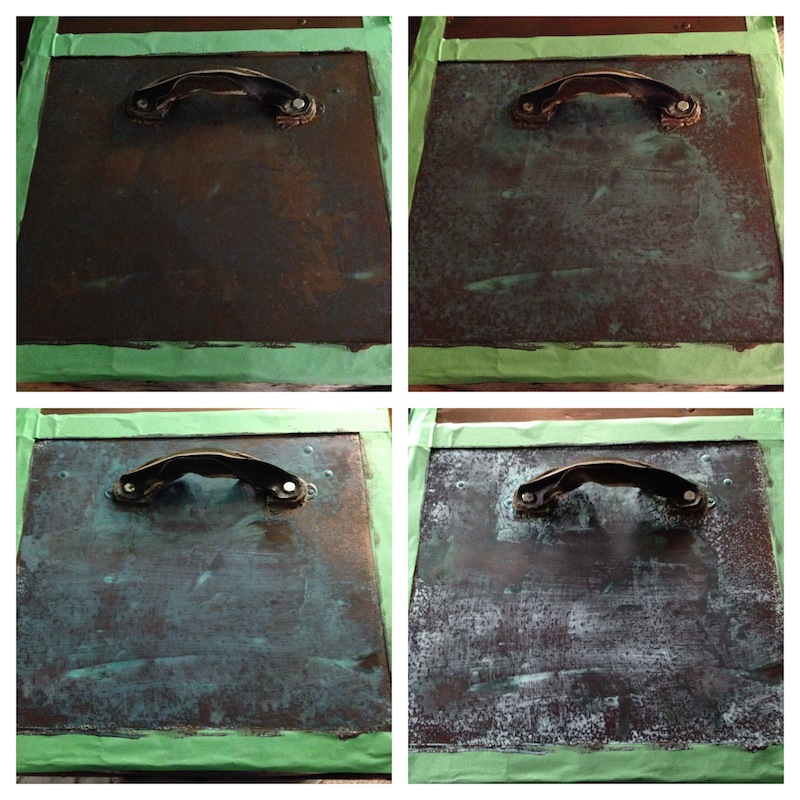 Old Trunk Makeover using Modern Masters Metal Effects Blue Patina Aging Solution- Paint reacting