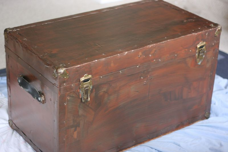 Old Trunk Makeover using Modern Masters Metal Effects Blue Patina Aging Solution Primed Trunk