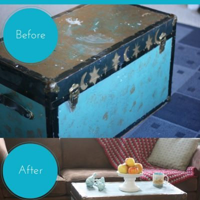 Old Trunk Makeover using Modern Masters Metal Effects Blue Patina Aging Solution