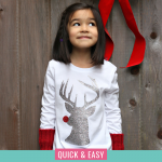 Make an adorable Hipster Rudolph Christmas Shirt using our step by step instructions and free Rudolph SVG Cut File! A fun Christmas Craft using your Cricut or Silhouette! #FreeSVG #Cricut #Silhouette #ChristmasCrafts #ChristmasShirt #glitter #ChristmasCrafting #Rudolph #RudolphTheRedNosedReindeer