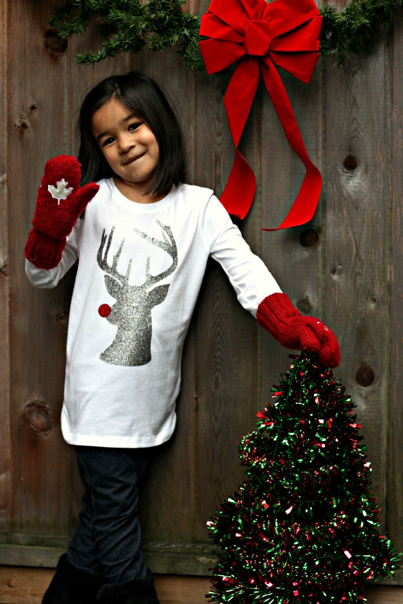 Sew Creative's Hipster Rudolph The Red Nosed Reindeer Hipster Shirt made on the Cricut Explore with Expressions Vinyl- An easy and inexpensive DIY Christmas gift