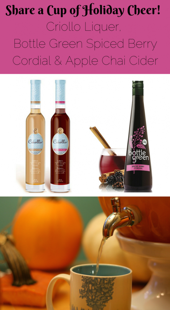 Share a cup (or 3) of holiday cheer! Criollo Liquer, Bottle Green Spiced Berry Cordial & Apple Chai Cider