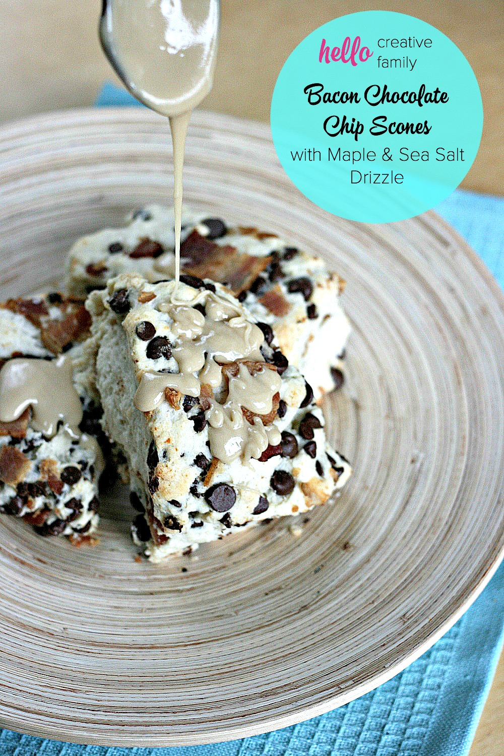 Drooling right now! Chocolate and Bacon? OMG good! I can't think of any guy who wouldn't love these for brunch or dessert for a special occasion! Bacon Chocolate Chip Scones with Maple and Sea Salt Drizzle Recipe.
