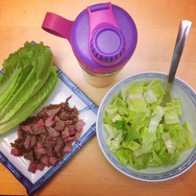 Flank Steak and onion lettuce wraps