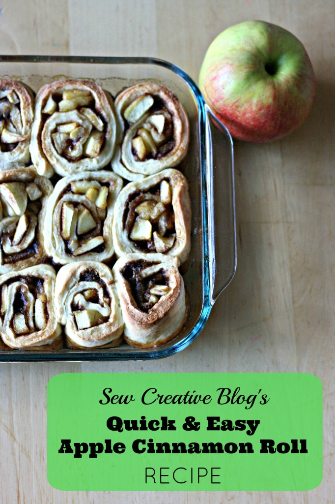 Looking for a quick baked breakfast perfect for a weekend brunch Sew Creative Blog's Quick and Easy Apple Cinnamon Roll Recipe is yummy and easy and fast to make