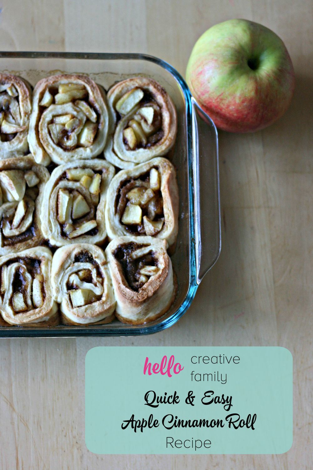 Looking for a quick & easy apple cinnamon roll recipe This is the recipe for you- No yeast required in this dough means in minutes it's in the oven.