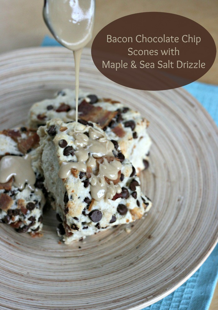 Sew Creative's delicous recipe for decadent bacon chocolate chip scones with maple and sea salt drizzle. Perfect for brunch entertaining