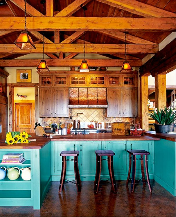 aqua blue wood kitchen the exposed wood beams the huge kitchen island