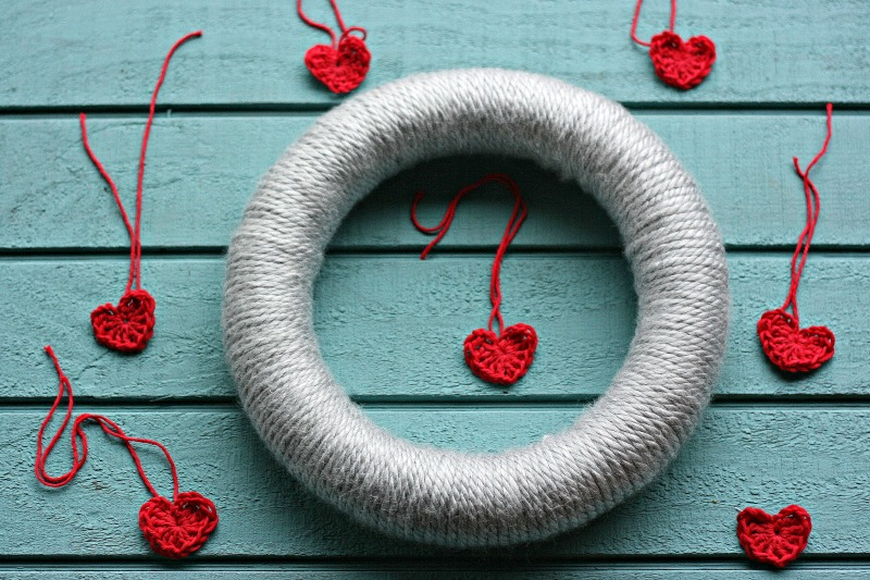 How to Make A Valentine's Day Wreath That Can Easily Be Repurposed for Any Season-Crochet a bunch of cute little crochet hearts