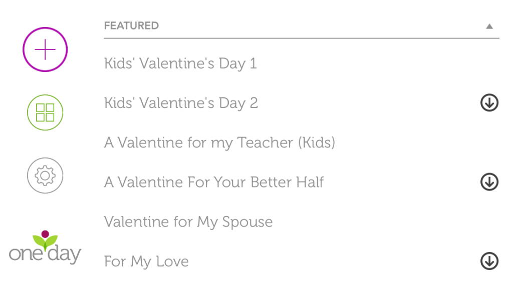 One Day App Valentine's Day Themes