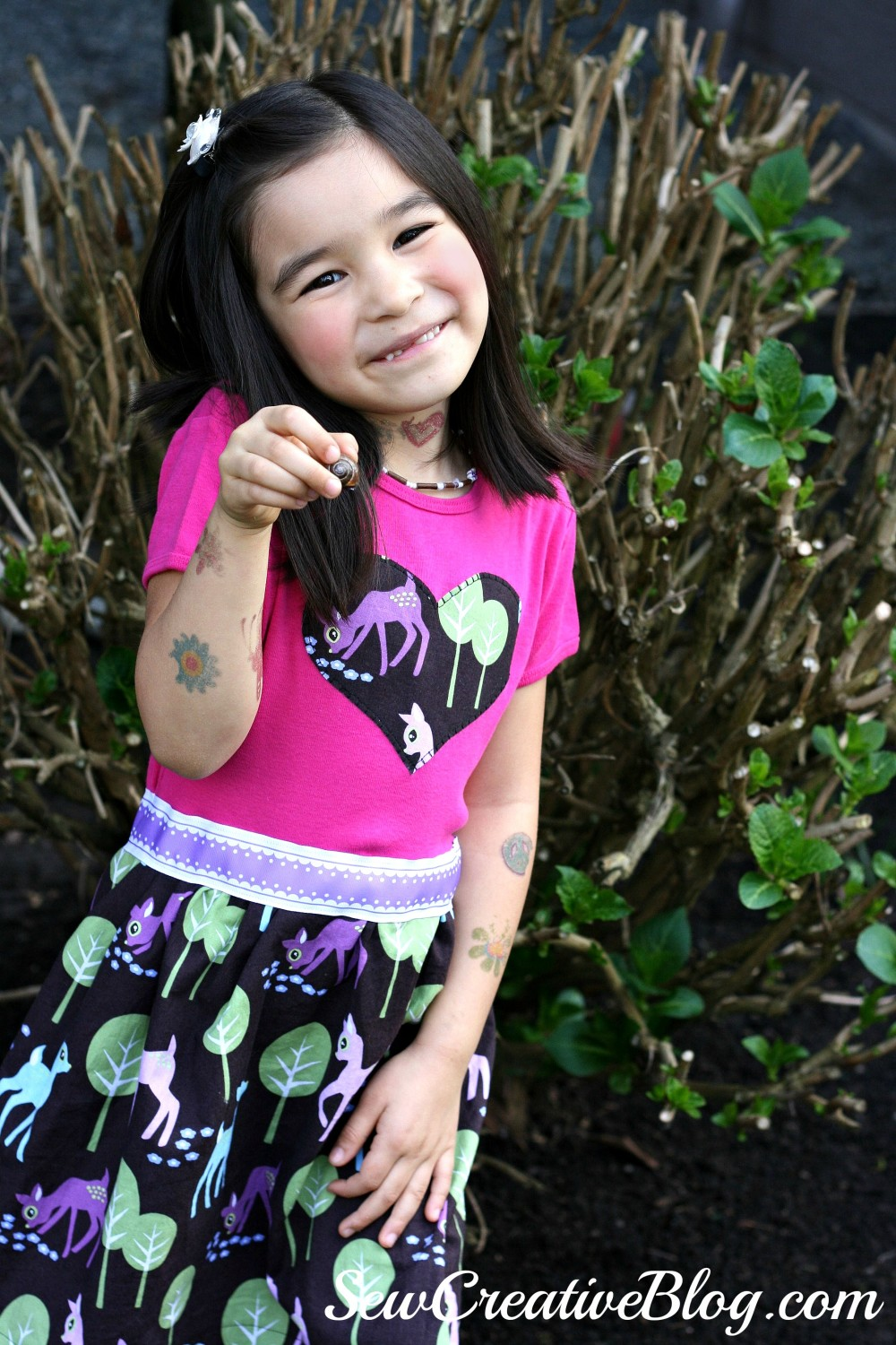 Hannah T-Shirt Dress from Sew Pretty For Little Girls Sewn by Sew Creative in Pet Deer Fabric