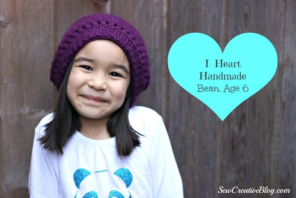 I Heart Handmade, Bean Age 6, Kids Crocheted Slouch Hat, Sew Creative