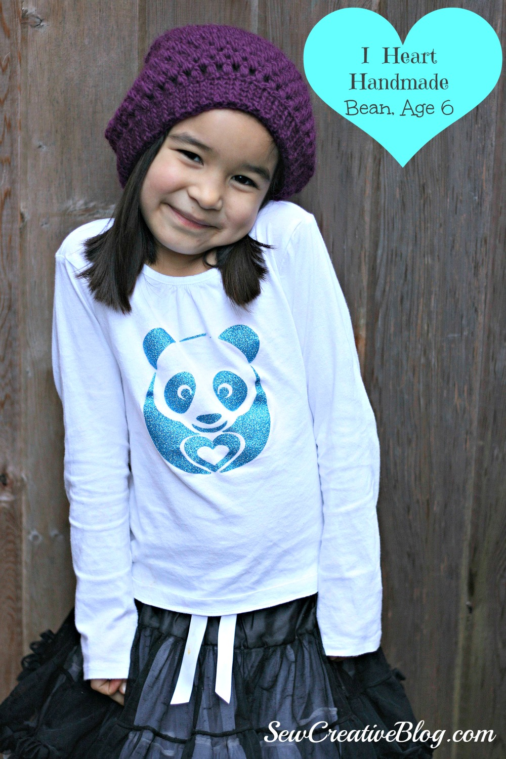 I Heart Handmade, Bean Age 6, Panda Shirt Made On Cricut Explore, Sew Creative