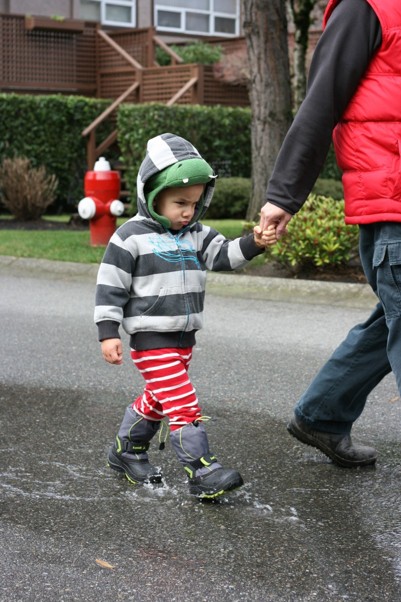 Kamik boots on a toddler