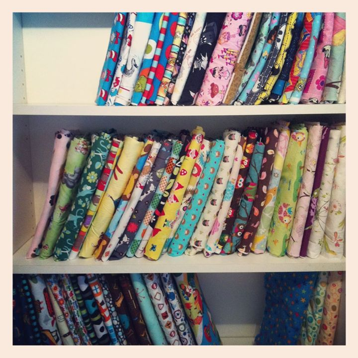 Some of my fabric organized into mini bolts
