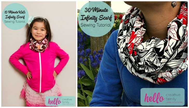 15 minute kid's infinity scarf sewing tutorial and 30 minute adult infinity scarf tutorial from Hello Creative Family. Great sewing projects that take less than an hour for beginners.