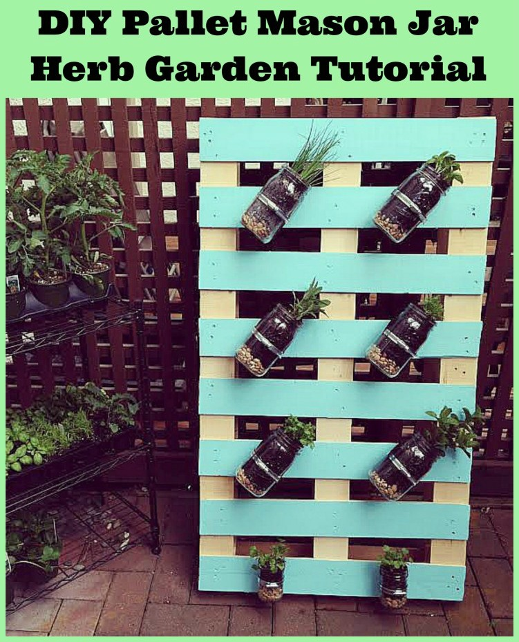 DIY Pallet Mason Jar Herb Garden Tutorial. This post has step-by-step instructions and tons of photos. A great family weekend project. HelloCreativeFamily.com