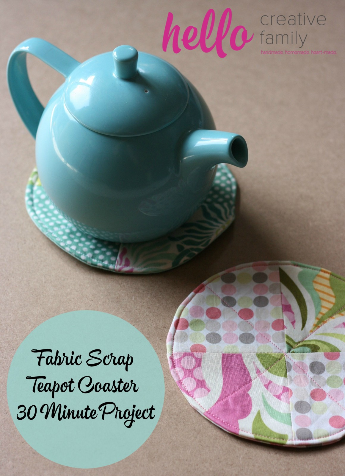 Fabric Scrap Teacup Coaster Tutorial. A great 30 minute project to use up your fabric scraps. Handmade Homemade Heartmade