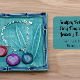 Hello Creative Family's Sculpey Polymer Clay Fingerprint Jewelry Tutorial- Family Charm Bracelet. A great handmade Mother's Day or Christmas gift that kids can help make!