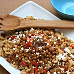 Caramelized and Oven RoastedMediterranean Pasta Salad with Chickpea Croutons Recipe