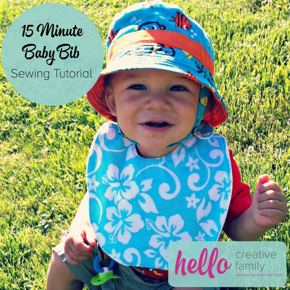 This 15 Minute Baby Bib Sewing Tutorial uses bibs you have at home as a template. It's the perfect beginner project and makes a great shower gift.