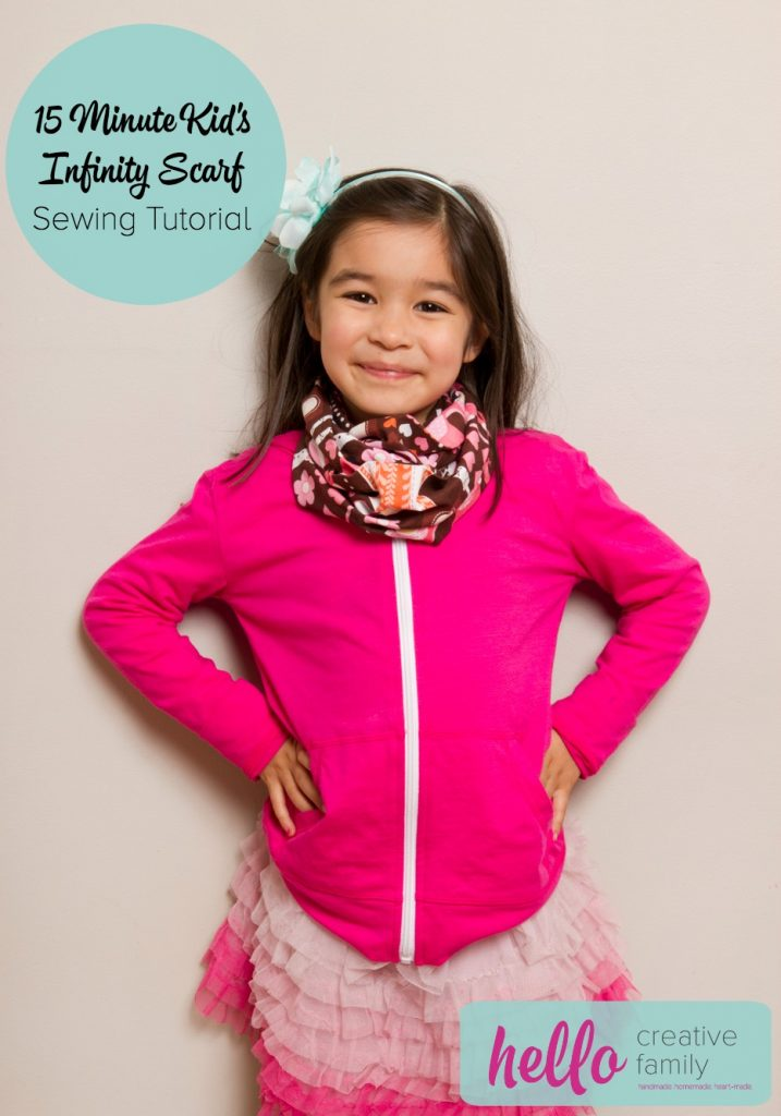 This 15 Minute Kid's Infinity Scarf is a great project for beginners plus you can make 3 of them with 1 yard of fabric!