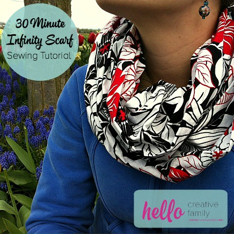 This 30 Minute Infinity Scarf is a great project for beginners. Also check out the Hello Creative Family Kid's Infinity Scarf on the same site!