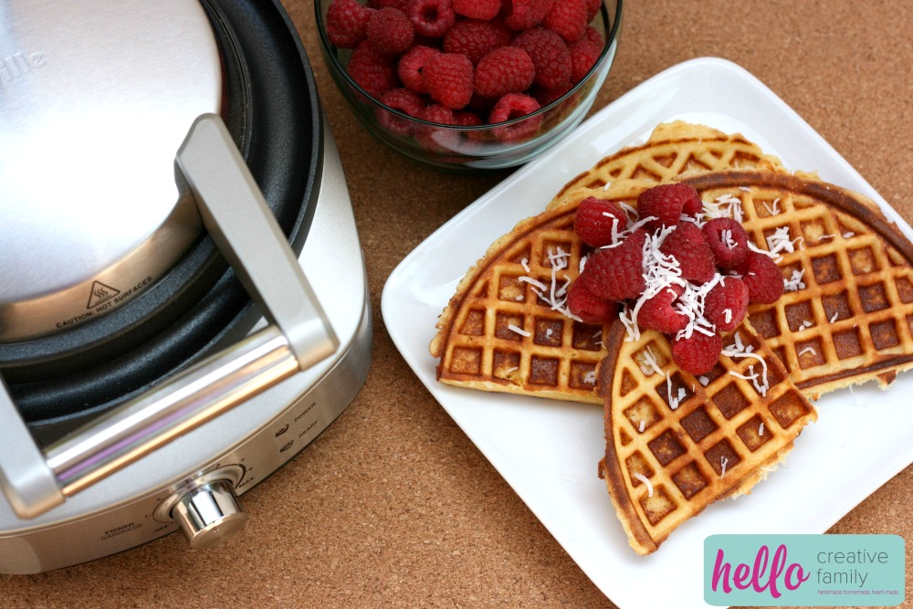 Hello Creative Family shares their paleo coconut waffle recipe along with variations to help you make the recipe your own