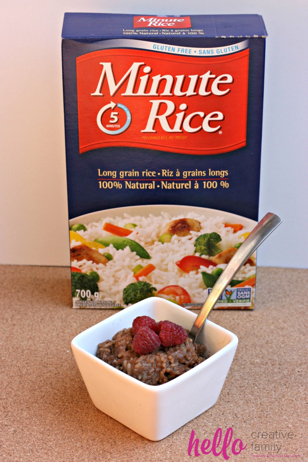 Hello Creative Family's Chocolate Coconut Rice Pudding Recipe using Minute Rice