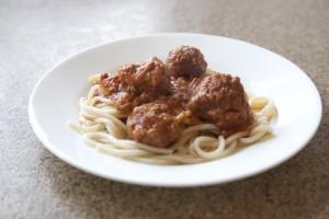 Homemade Heart-made Spaghetti and Meatballs on HelloCreativeFamily.com