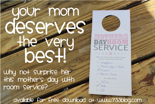Mother's Day Room Service Printable