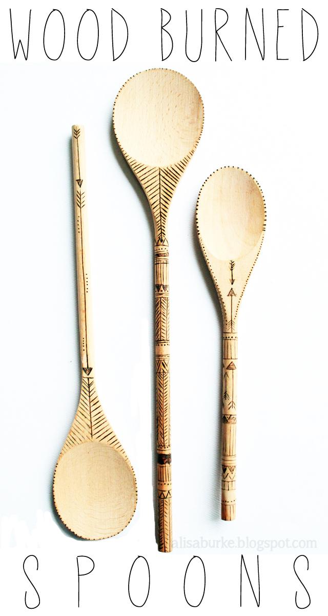 Wood burned spoons