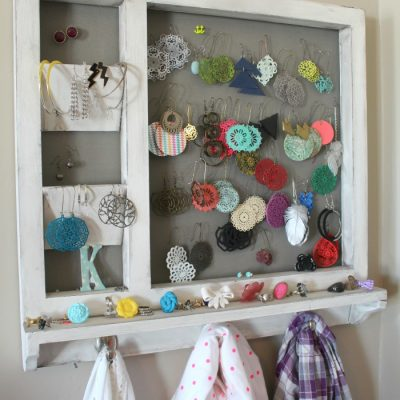 HCF Featured DIY of the Week- Jewelry and Scarf Wall Organizer from A Girl and a Gluegun