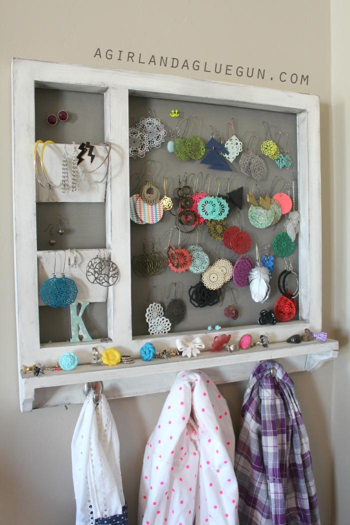 A Girl And A Gluegun DIY Jewelry and Scarf Organizer