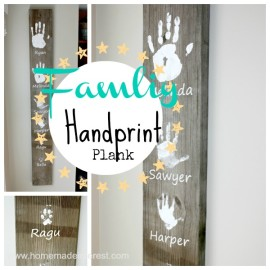 This Upcycled Wood Family Handprint Artwork would make a heartfelt gift, perfect for Mother's Day, Father's Day or Christmas.