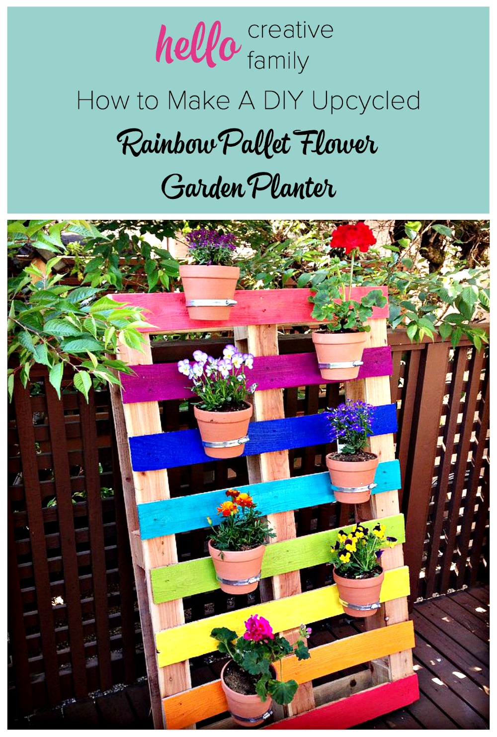 Create a bright and colorful upcycled rainbow pallet planter project with these simple instructions from Hello Creative Family. An easy and fun family weekend project that kids will love.
