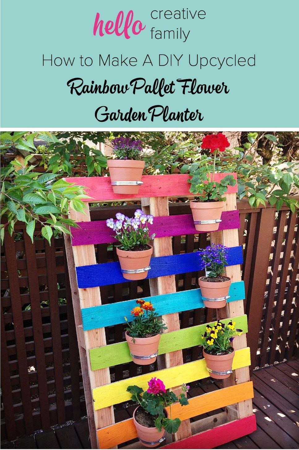 Create a bright & colorful upcycled rainbow pallet planter project with these simple instructions from Hello Creative Family. A great family weekend project that kids will love.